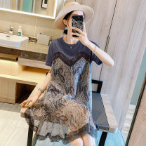 Dress Spring 2021 S M L XL Mid length dress singleton  Short sleeve commute Crew neck Loose waist Decor Socket other routine Others 30-34 years old Type A Zimo you Retro More than 95% other Other 100% Pure e-commerce (online only)