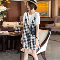 Dress Summer 2021 Graph color S M L XL Short skirt Fake two pieces Short sleeve commute Crew neck Loose waist lattice other other puff sleeve Others 35-39 years old Type A Saimeiyi Korean version Splicing SC202f20865p0102 More than 95% other Other 100%