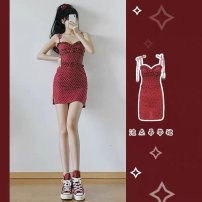 Dress Spring 2021 gules XS S M L Short skirt singleton  Sleeveless commute V-neck High waist Dot Socket One pace skirt routine camisole 18-24 years old You Suo backless ERTEYYE122 More than 95% other Other 100% Pure e-commerce (online only)