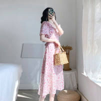 Dress Summer 2021 Pink XS S M L longuette singleton  Short sleeve commute V-neck High waist Broken flowers zipper Big swing routine Others 18-24 years old Type A Retro Lace up zipper More than 95% Chiffon polyester fiber Polyester 100% Exclusive payment of tmall