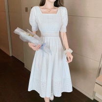 Lace / Chiffon Spring 2021 white S M L XL Short sleeve singleton  Self cultivation Medium length V-neck Solid color puff sleeve Reservoir rock Other 100%