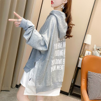 Sweater / sweater Autumn 2020 Black grey M L XL XXL Long sleeves Medium length Socket Fake two pieces Thin money Hood easy commute Bat sleeve letter 25-29 years old 71% (inclusive) - 80% (inclusive) Qiao Mengtong Korean version polyester fiber Pocket print panel cotton Polyester 75% cotton 25%