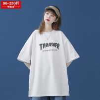 Women's large Summer 2021 White pink blue green S (90-100kg) m (100-120kg) l (120-130kg) XL (130-150kg) 2XL (150-160kg) 3XL (160-180kg) 4XL (180-200kg) T-shirt singleton  street easy moderate Socket Short sleeve letter Crew neck routine cotton Three dimensional cutting routine WRZB-202103030016 wrzb