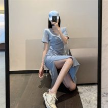 Women's large Summer 2020 Black haze blue S M L singleton  commute Short sleeve Solid color Simplicity V-neck other two thousand and ninety-nine # Yaqishan longuette Triacetate fiber (triacetate fiber) 100%