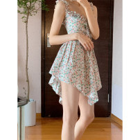 Dress Summer 2021 Floral suspender skirt S M L XL Mid length dress singleton  Sleeveless commute V-neck High waist Solid color zipper other routine camisole 18-24 years old Mu zhiou Retro printing M488 More than 95% other Other 100% Pure e-commerce (online only)