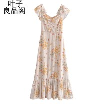 Dress Summer 2021 Picture color L,M,S longuette singleton  Short sleeve street One word collar High waist other Socket Ruffle Skirt Sleeve Others 30-34 years old Other / other Stitching, open back, ruffle, printing, zipper, printing / dyeing, open shoulder 30% and below other other