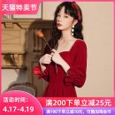 Dress / evening wear Wedding adult party company annual meeting performance XS S M L XL XXL Korean version Medium length middle-waisted Autumn 2020 A-line skirt square neck zipper 18-25 years old YM-161 Long sleeves Nail bead Solid color Yun Mengshan bishop sleeve Polyester 80% other 20% other Pearl