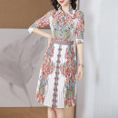 Women's large Summer 2020 Decor XL 2XL 3XL 4XL 5XL Dress singleton  commute Straight cylinder moderate Socket Long sleeves Abstract pattern lady Polo collar other Three dimensional cutting routine Lanmufang 35-39 years old Button Medium length Other 100% Pleated skirt