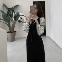 Women's large Spring 2021 Shirt vest skirt shirt + vest skirt S m average Dress Two piece set commute Self cultivation Socket Long sleeves Korean version Polo collar other routine H2117 Esname / yushman 18-24 years old Medium length Other 100% Pure e-commerce (online only)