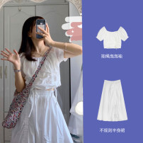Women's large Summer 2021 Single drawstring bubble sleeve top single white skirt drawstring Bubble Sleeve Top + white skirt S M L XL Dress Two piece set commute Solid color Korean version Crew neck have cash less than that is registered in the accounts polyester fiber routine Phoenie 18-24 years old
