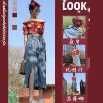Women's large Summer 2021 Floral Top denim skirt Floral Top + denim skirt S M L XL skirt Two piece set commute Socket Korean version One word collar routine 1546431assa Phoenie 18-24 years old 81% (inclusive) - 90% (inclusive) longuette Other 100% Same model in shopping mall (sold online and offline)