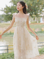 Women's large Summer 2021 White apricot S M L singleton  commute Solid color One word collar routine ZP2148 Huaxin Art 18-24 years old Embroidery longuette Other 100% Pure e-commerce (online only)