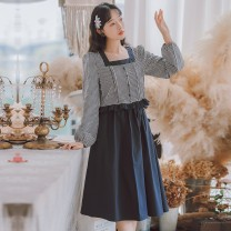 shirt Navy two piece set S M L Autumn 2020 other 96% and above Long sleeves Sweet Regular other Socket routine lattice 18-24 years old Straight cylinder Huaxin Art QW630 Other 100% Pure e-commerce (online only) Mori