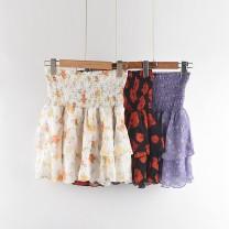 skirt Summer 2021 XS,S,M,L Short skirt Sweet High waist Cake skirt Broken flowers 25-29 years old More than 95% Chiffon LOEVENICH polyester fiber