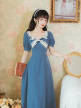 Dress Summer 2021 Navy Blue S M L XL Mid length dress singleton  Short sleeve commute Admiral High waist Solid color Socket Big swing routine Others 18-24 years old Type A Ink grease Retro bow MZ-0309-8193 More than 95% other Other 100%