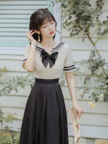 Dress Summer 2021 Rice white and black S M L longuette singleton  Short sleeve commute Admiral High waist Solid color Socket A-line skirt routine Others 18-24 years old Ink grease Retro Splicing More than 95% other Other 100%