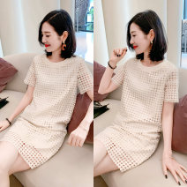 Dress Summer 2021 ⑥ Beige S M L Short skirt singleton  Short sleeve commute Crew neck Loose waist other Socket other routine Others 30-34 years old Type H Chongyan Korean version Hollowing out B182k04068p0112 More than 95% other Other 100%