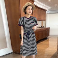 Dress Summer 2021 stripe S M L Mid length dress singleton  Short sleeve commute Crew neck High waist stripe other other routine Others 30-34 years old Type H Chongyan Korean version pocket SC202f21328p0103 More than 95% other other Other 100%