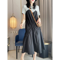 Dress Summer 2020 Black Khaki S M L XL longuette singleton  Short sleeve street Crew neck High waist Solid color other routine Others 30-34 years old Jiehuina 51% (inclusive) - 70% (inclusive) cotton Europe and America