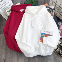 Sweater / sweater Autumn 2020 M L XL XXL Long sleeves routine Socket singleton  Thin money Hood easy commute routine Solid color 18-24 years old 91% (inclusive) - 95% (inclusive) Luminous shadows / fine wind Korean version polyester fiber Pocket thread Drawstring Cotton liner