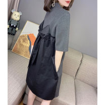Dress Summer 2021 Black grey S M L XL Middle-skirt singleton  elbow sleeve street High collar High waist Animal design Socket routine Others 30-34 years old Miheng BB203v12457p0130 More than 95% other Other 100% Pure e-commerce (online only) Europe and America