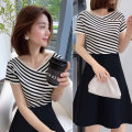 Dress Summer 2020 stripe S M L Mid length dress singleton  Short sleeve street V-neck High waist stripe A-line skirt routine Others 30-34 years old Miheng BA202v01588p0103 81% (inclusive) - 90% (inclusive) polyester fiber Polyester 85% polyamide 15% Pure e-commerce (online only) Europe and America