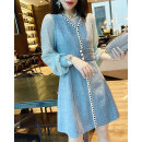 Dress Autumn 2020 blue S M L XL Middle-skirt singleton  Long sleeves street V-neck High waist Solid color Single breasted routine Others 30-34 years old Miheng BB203v12279p0170 More than 95% other Other 100% Pure e-commerce (online only) Europe and America