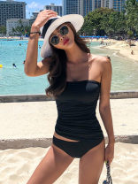 Split swimsuit MIEREEN White black M L Skirt split swimsuit With chest pad without steel support Nylon spandex polyester M19501 Winter 2020 no female One word collar Sleeveless