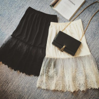 skirt Winter of 2019 Average size White black Middle-skirt Versatile High waist Splicing style Solid color More than 95% Mi Daiwen other Other 100%