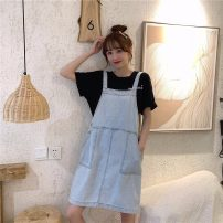Dress Spring 2021 wathet S M XS Short skirt singleton  Sleeveless commute square neck Loose waist Solid color Socket other other straps 18-24 years old Type H Pear flower smile Retro pocket 3.4.1288 More than 95% Denim other Other 100% Pure e-commerce (online only)
