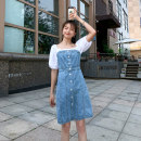 Dress Summer 2020 blue M L XL XXL Mid length dress Fake two pieces Short sleeve Sweet square neck High waist Solid color Single breasted One pace skirt bishop sleeve Others 18-24 years old Type H Tao Lu Pocket panel button 91% (inclusive) - 95% (inclusive) Denim cotton college