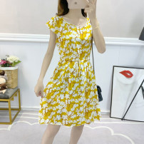 Dress Summer 2020 812 picture color 813 picture color 801 red 801 yellow 802 picture color 803 white 803 black 804 picture color 806 picture color 807 white 807 yellow 808 red 808 green 809 white 809 green 811 picture color M L XL XXL 3XL Middle-skirt singleton  Short sleeve Sweet middle-waisted