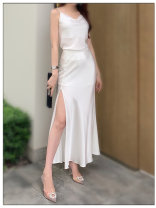 skirt Summer 2020 XS,S,M,L It's half white with suspenders Mid length dress commute High waist Solid color Type H other Korean version