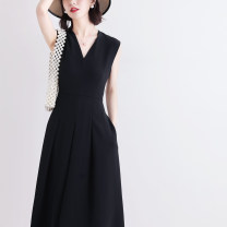 Dress Spring 2021 black S M L XL Mid length dress singleton  Sleeveless commute V-neck High waist Solid color zipper A-line skirt Others 25-29 years old Type A Jane Bailey Korean version Three dimensional decorative zipper W26Q22296 71% (inclusive) - 80% (inclusive) Chiffon Cellulose acetate