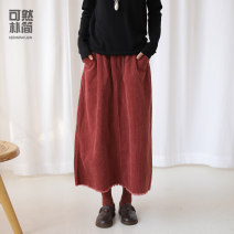 skirt Autumn of 2019 S M L Retro Red Rice apricot longuette commute Natural waist A-line skirt Solid color 30-34 years old Q91047 More than 95% corduroy Simple and simple cotton literature Cotton 100%