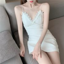 Lace / Chiffon Summer 2021 White black S M Sleeveless commute Socket singleton  Self cultivation Medium length V-neck Solid color 18-24 years old Huisu 1797# Diamond back stitching lace Korean version Other 100% Pure e-commerce (online only)