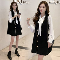 Women's large Autumn 2020 Two piece set M [85-100] l [100-115] XL [115-130] 2XL [130-145] 3XL [145-160] 4XL [160-180] Dress Two piece set commute easy moderate Socket Long sleeves literature other routine Petal sleeve AB1015 Pretty Shirley Button Medium length Other 100% other