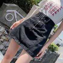 skirt Summer 2020 XS S M L XL 2XL 3XL 4XL 5XL Black dark blue light blue Short skirt commute High waist Denim skirt Solid color Type A 18-24 years old a522#0403 51% (inclusive) - 70% (inclusive) Denim Love girl cotton Button zipper Korean version Cotton 62.7% polyester 22.3% viscose 10.2% others 4.8%