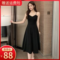 Dress Summer 2020 Black [shoulder strap can be adjusted] [collection baby priority delivery] XS S M L XL 2XL longuette singleton  Sleeveless commute V-neck High waist Solid color zipper routine camisole 18-24 years old Type A Small room Korean version backless More than 95% other polyester fiber