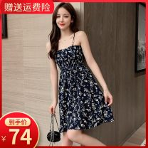Dress Summer 2020 Blue [suspender skirt] collection priority delivery S M L XL Short skirt singleton  Sleeveless commute V-neck High waist Solid color zipper A-line skirt routine camisole 18-24 years old Type A Small room Korean version Bow zipper print More than 95% Chiffon polyester fiber