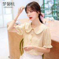 Lace / Chiffon Summer 2020 S M L XL 2XL Short sleeve Versatile Cardigan singleton  easy Regular Doll Collar lattice puff sleeve 25-29 years old Dream peach Three dimensional decorative button with ruffle and pleated Auricularia auricula stitching Other 100% Pure e-commerce (online only)