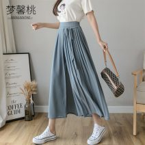 Casual pants Black grey blue S M L XL Summer 2020 Ninth pants Wide leg pants High waist Versatile Thin money 18-24 years old 51% (inclusive) - 70% (inclusive) Dream peach Bandage Other 100% Pure e-commerce (online only)