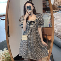 Dress Summer 2021 lattice S M L Short skirt singleton  Short sleeve Sweet square neck High waist lattice Socket A-line skirt routine Others 18-24 years old Type A Hangsang Button nz87 More than 95% other Other 100% Lolita Pure e-commerce (online only)