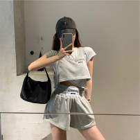 Dress / evening wear Daily appointment S M L XL Blue top grey top blue shorts grey shorts Korean version Summer 2021 18-25 years old J263 Short sleeve AdanYC Other 100% Pure e-commerce (online only)