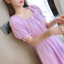 Dress Summer 2021 White purple S M L XL longuette singleton  Short sleeve commute square neck Solid color Socket A-line skirt puff sleeve Others 18-24 years old Xin Weili Retro XWL1023# 71% (inclusive) - 80% (inclusive) Chiffon polyester fiber Polyester 80% other 20% Pure e-commerce (online only)