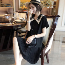 Dress Spring 2021 S M L XL Mid length dress singleton  Short sleeve commute Doll Collar Elastic waist Solid color Socket A-line skirt routine Others 30-34 years old Type H Autumn inch Korean version More than 95% polyester fiber Polyester 100%