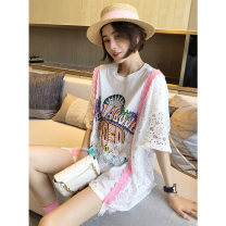 T-shirt White black S M L Spring 2021 Short sleeve Crew neck easy Medium length pagoda sleeve commute other 96% and above 30-34 years old Korean version originality letter Autumn inch Hollowing out Other 100%