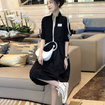 Dress Summer 2021 Black skirt S M L XL Mid length dress singleton  elbow sleeve commute stand collar middle-waisted other Socket A-line skirt routine 30-34 years old Type A Autumn inch Korean version SG211f71526p0130 More than 95% other Other 100%