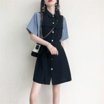 Dress Summer 2021 Light blue Khaki S M L XL Short skirt singleton  Short sleeve commute Polo collar High waist Solid color Single breasted A-line skirt routine 18-24 years old Type A A thousand search for a bath Button ytd56415 More than 95% other Other 100% Pure e-commerce (online only)