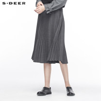 skirt Autumn of 2019 S/160 M/165 L/170 XL/175 Mid length dress commute Natural waist A-line skirt stripe Type A 25-29 years old 51% (inclusive) - 70% (inclusive) s.deer polyester fiber Ol style Polyester fiber 64% viscose fiber (viscose fiber) 34% polyurethane elastic fiber (spandex) 2%